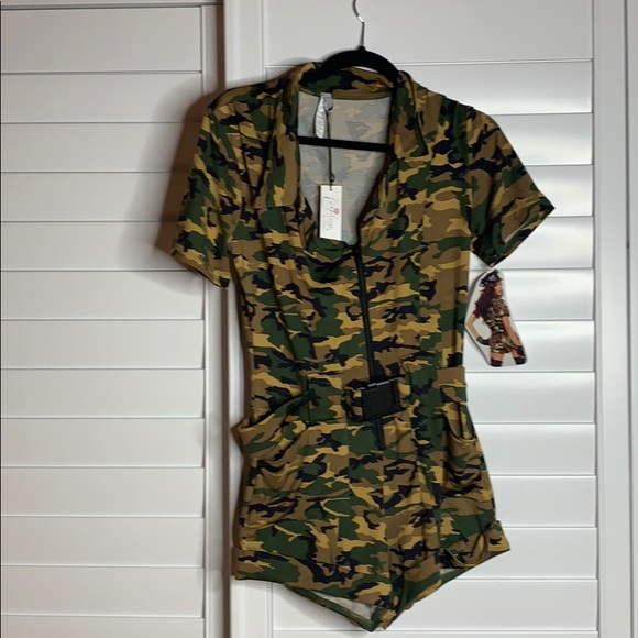 Forplay camo Army military bodysuit costume